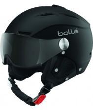 Bolle 31253 Backline hledí měkké černé a stříbrné lyžařská helma s šedým kšiltem - 59 až 61 cm