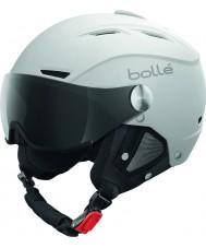 Bolle 31255 Backline hledí měkká bílá a stříbrná lyžařská helma s šedým kšiltem - 56 až 58 cm