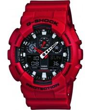 Casio GA-100B-4AER Pánská g-shock světový čas červená pryskyřice popruh hodinky