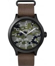 Timex TW4B06600 Pánská skautský hnědý kožený pásek na hodinky