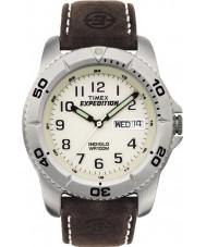 Timex T46681 Pánská bílá hnědá expedice tradiční hodinky